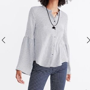 Madewell bell sleeve button down shirt windowpane
